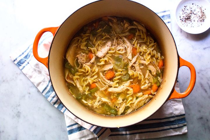 You can use store-bought rotisserie chicken to make the soup-cooking process even easier.