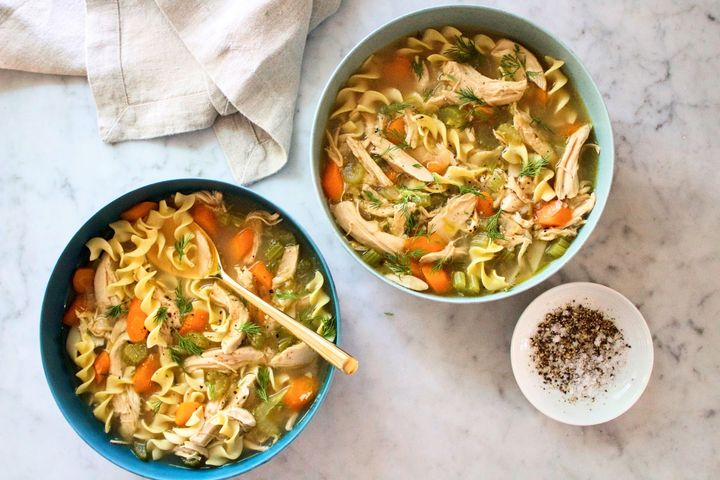 Homemade chicken soup — including homemade chicken stock — is a simple winter meal.