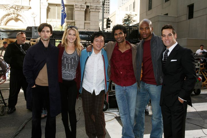 "The cast of ""Heroes"" behind the scenes."