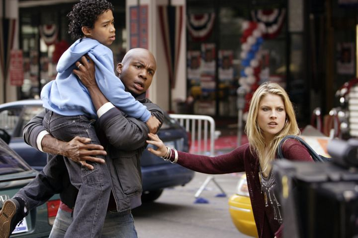 "Noah Gray-Cabey, Leonard Roberts and Ali Larter in ""Heroes."""