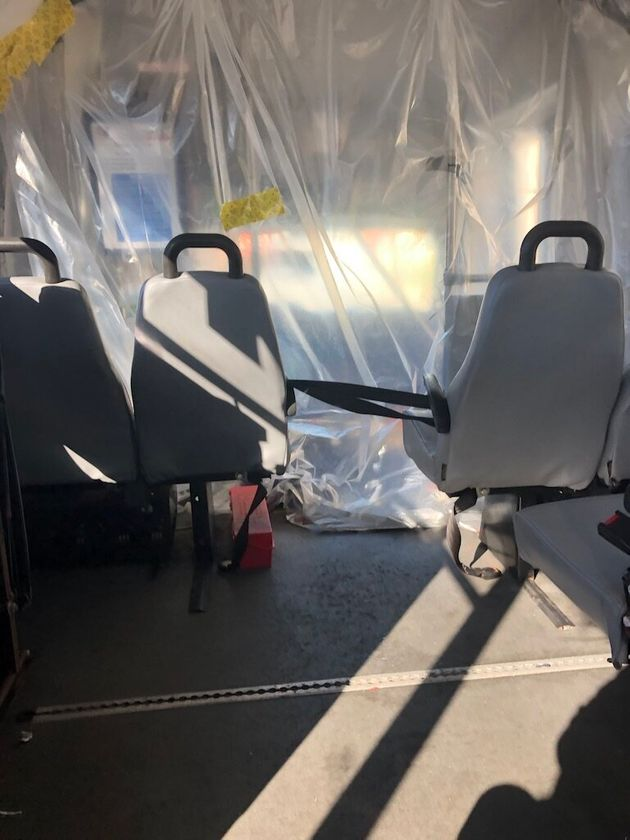 Plastic sheeting inside the van separated the author from the