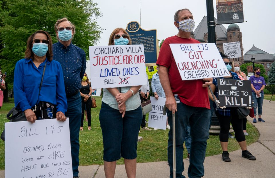 Demonstrators protest against Bill 175, the province's home care legislation, outside Queen's Park in...
