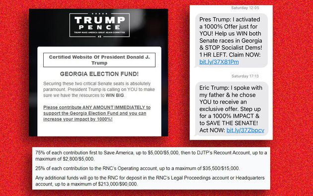Screenshots from Trump's website and fundraising text messages citing the Georgia runoff