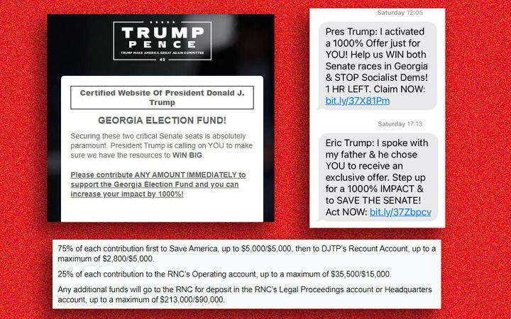 Screenshots from Trump's website and fundraising text messages citing the Georgia runoff elections.