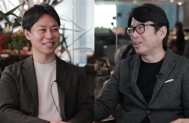 メディアで初めて対談する実業家の山中哲男さん(左)とトリドール社長の粟田貴也さん(右)