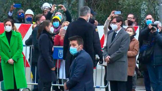 Salvador Illa saluda a Felipe VI y a Doña