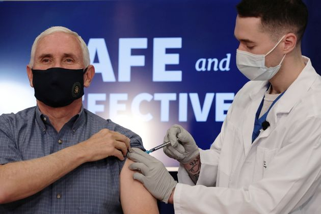 U.S. Vice President Mike Pence receives the COVID-19 vaccine at the White House in Washington, U.S.,...