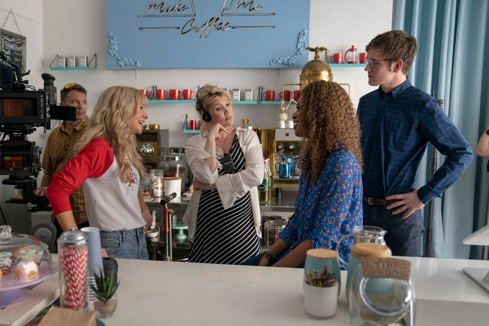 """From left to right: Carey Mulligan, Emerald Fennell, Laverne Cox and Bo Burnham on the set of """"Promising Young Woman."""""""