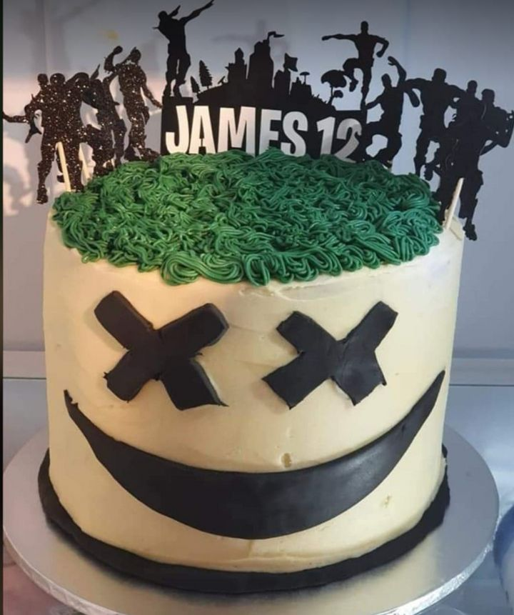 The Fortnite inspired cake for James' 12th birthday