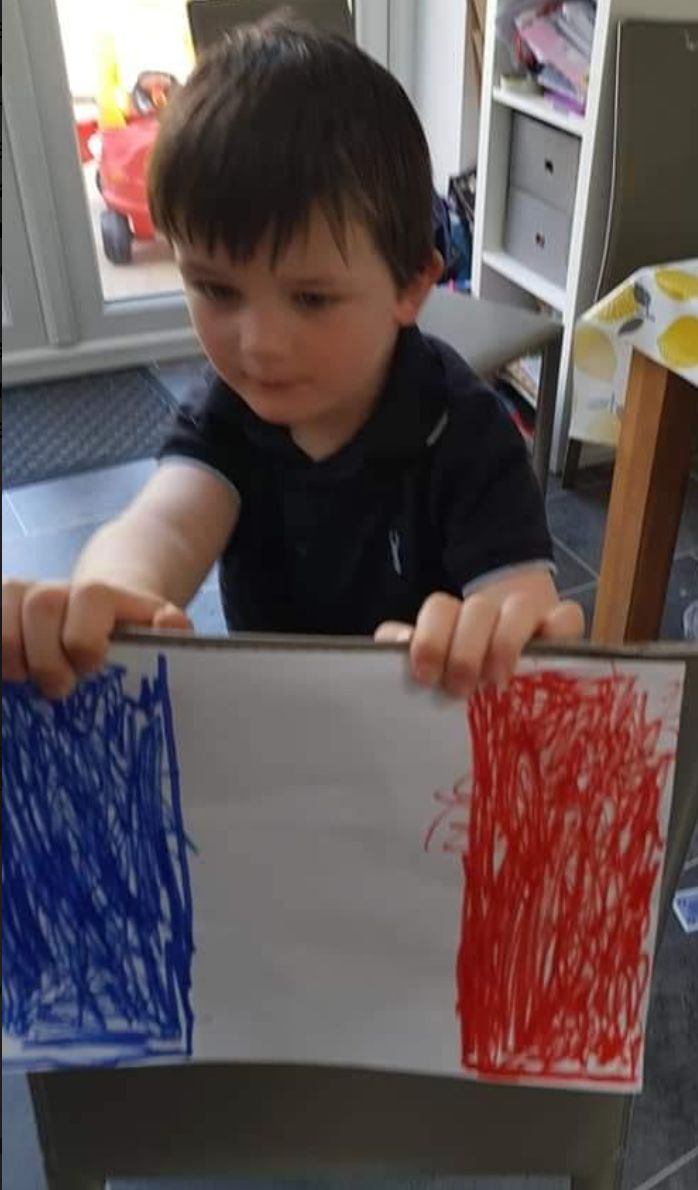 Samson Tapp, five, enjoys a virtual trip to France