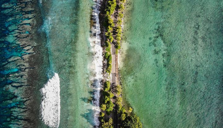 The narrowest point of Fongafale island, in Funafuti, Tuvalu. Scientists predict the low-lyingSouth Pacific island nati