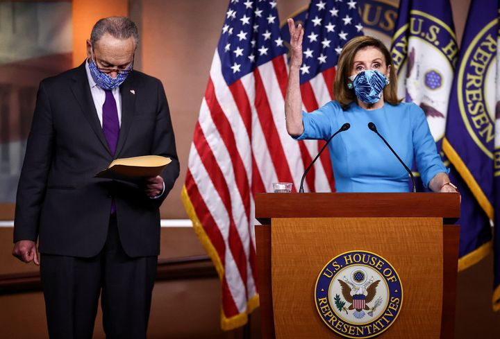 House Speaker Nancy Pelosi (D-Calif.) and Senate Minority Leader Chuck Schumer (D-N.Y.) speak to reporters at the Capitol on