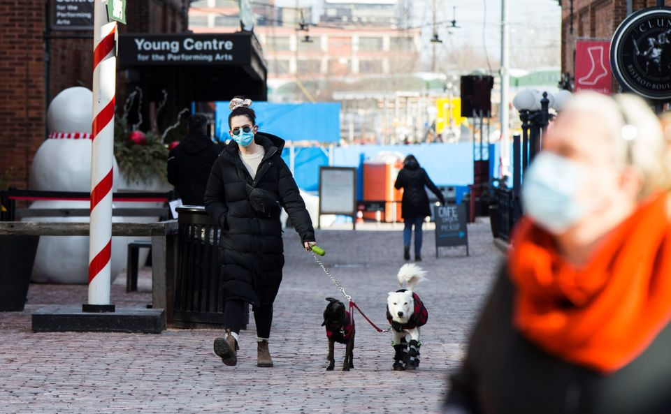 A woman wearing a face mask walks dogs on a street in Toronto, Canada, on Dec. 3, 2020.