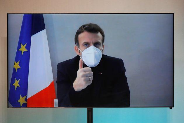 Emmanuel Macron lors d'une visioconférence le 17 décembre