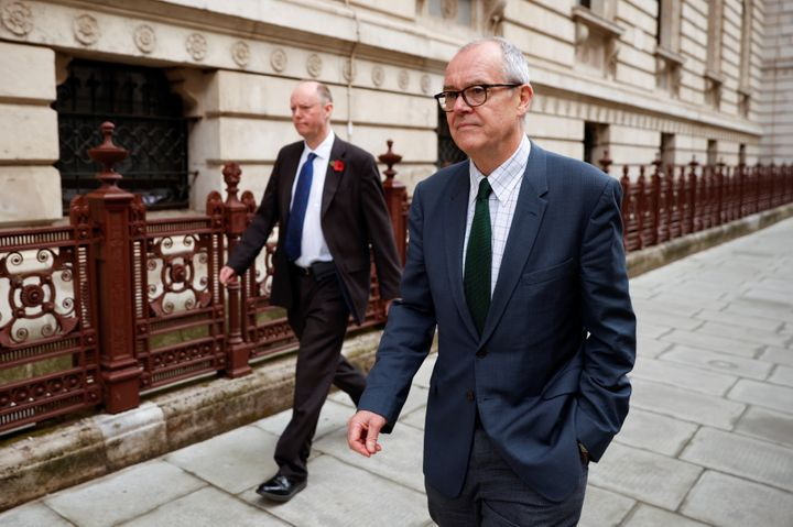 Britain's Chief Medical Officer Chris Whitty and Chief Scientific Adviser Sir Patrick Vallance