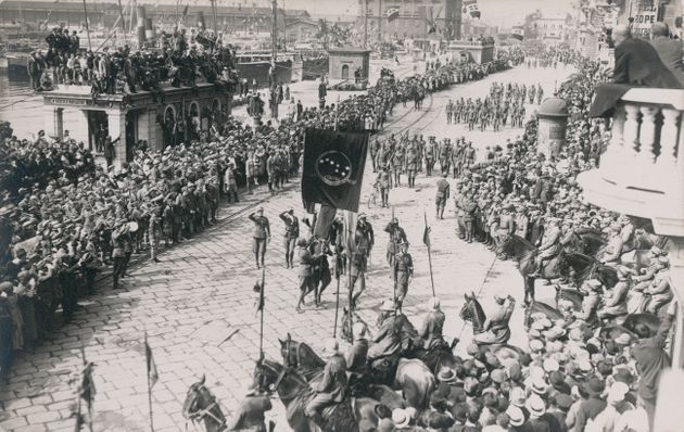 Hundreds of people celebrate the Italian legionary troops with a parade on the streets of Rijeka, Croatia...