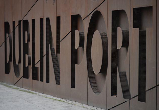 Dublin Port sign. On Thursday, December 17, 2020, in Dublin, Ireland. (Photo by Artur Widak/NurPhoto...