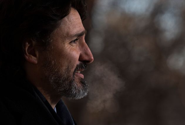 Prime Minister Justin Trudeau exhales during a response to a question in Ottawa on