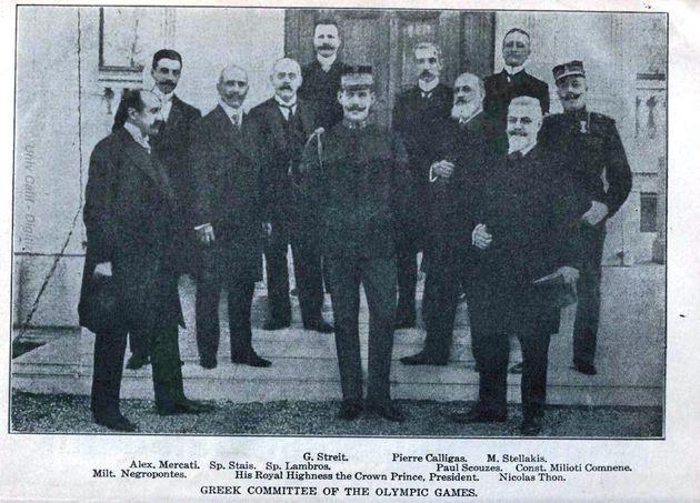 Ο Νικόλαος Θων σε φωτογραφία της διοργανωτικής επιτροπής των Ολυμπιακών αγώνων του 1906: Μιλτιάδης Νεγρεπόντης,...