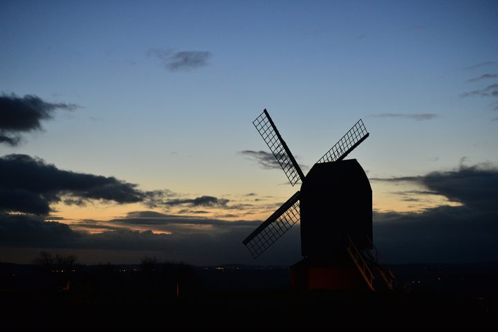 A general view of Brill windmill at sunset on December 20, 2020 in Brill, England. (Photo by Jim Dyson/Getty Images)