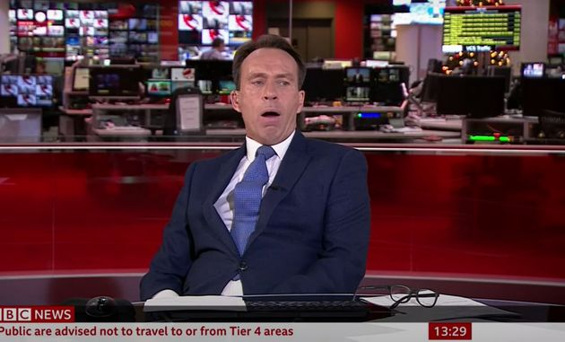 Ben Brown realising he's been caught yawning during a live broadcast on