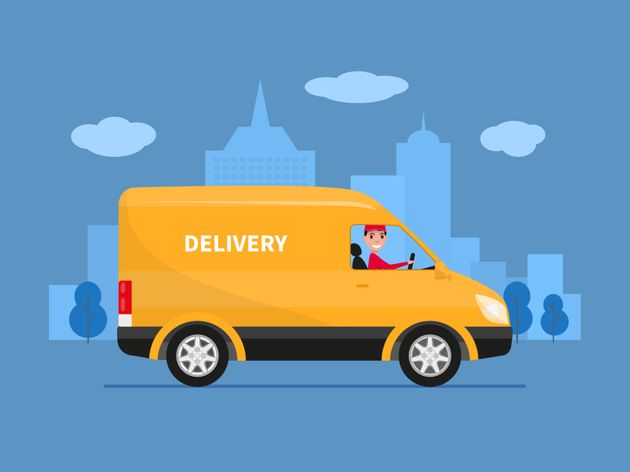 Vector illustration of cartoon delivery van with deliveryman. Yellow truck delivery against the background...