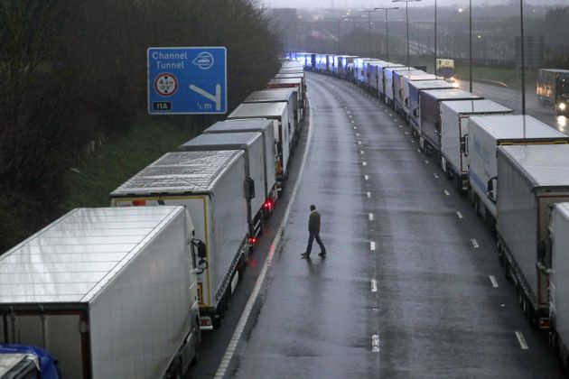 Lorries parked on the M20 near Folkestone, Kent, as part of Operation Stack after the Port of Dover was...