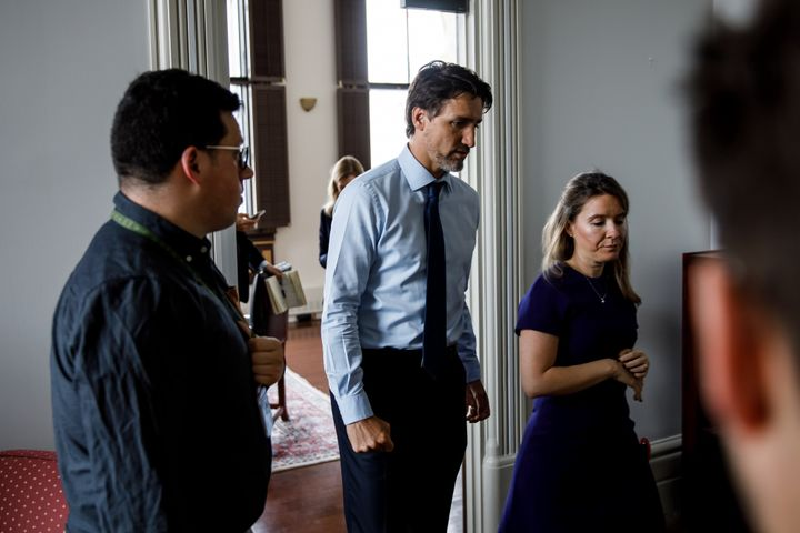 """""""PM Trudeau leaves his office after being updated regarding flight PS752. The clenched fist really stands out to me,"""" said Scotti. This photo was taken in Ottawa on Jan. 8, 2020."""