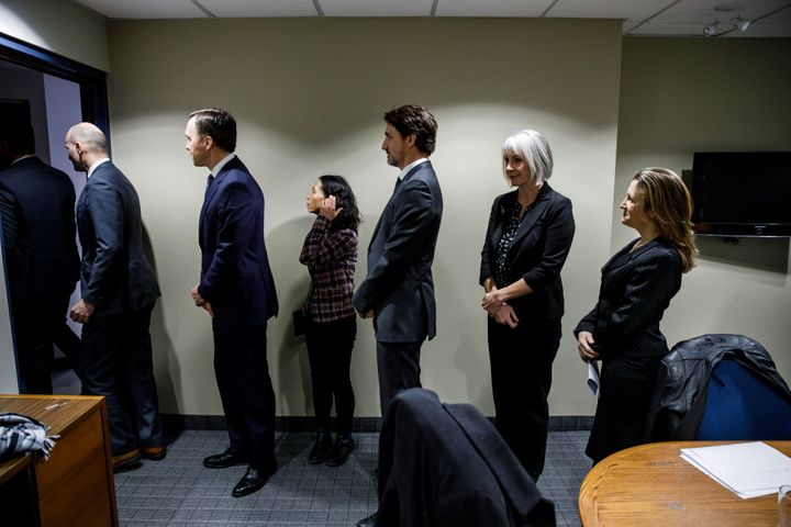 From left: Minister Jean-Yves Duclos, then-minister Bill Morneau, Chief Public Health Officer Dr. Theresa Tam, Trudeau, Minister Patty Hajdu and Deputy Prime Minister Chrystia Freeland in Ottawa on March 11, 2020.