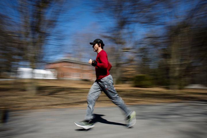 Trudeau runs laps around Rideau Cottage, Ottawa during isolation on April 6, 2020.