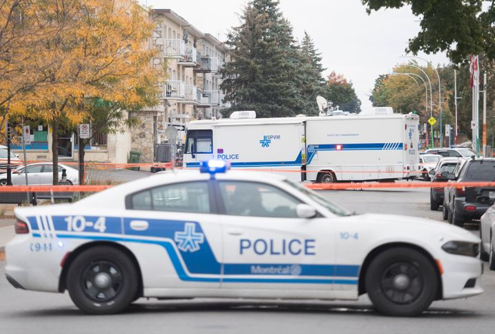 A police command post vehicle is shown in Montreal North, Sunday, October 4, 2020, where police shot a man brandishing a knife.