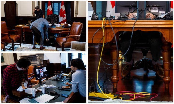 Tech support for Trudeau in Ottawa on May, 28, 2020.