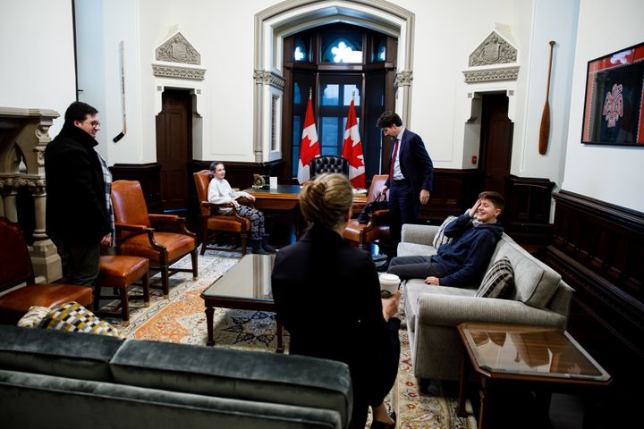 """Ella-Grace and Xavier Trudeau visit their dad and his staff in Ottawa on March 9, 2020. """"Dad jokes never fail,"""" Scotti said."""