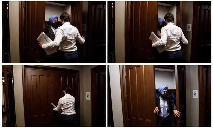 """""""Minister of Innovation, Science and Industry Navdeep Bains goes into his regeneration alcove. A Scotti cannot pass up the chance for a Star Trek reference,"""" said Scotti, who took these pictures in Ottawa on Nov. 2, 2020."""