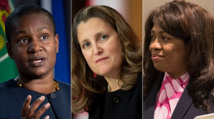 Green Party Leader Annamie Paul, Finance Minister Chrystia Freeland, and former Conservative leadership hopeful Leslyn Lewis are shown in a composite of photos from The Canadian Press.