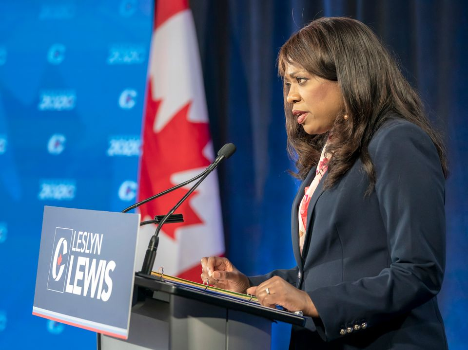 Leslyn Lewis speaks at a Conservative leadership debate in Toronto on June 17,