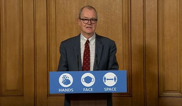 Screen grab of Chief scientific adviser Sir Patrick Vallance during a media briefing in Downing Street,...