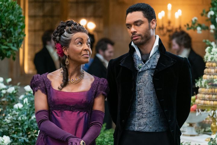 "Adjoa Andoh as Lady Danbury and Regé-Jean Page as Simon Basset in ""Bridgerton."""