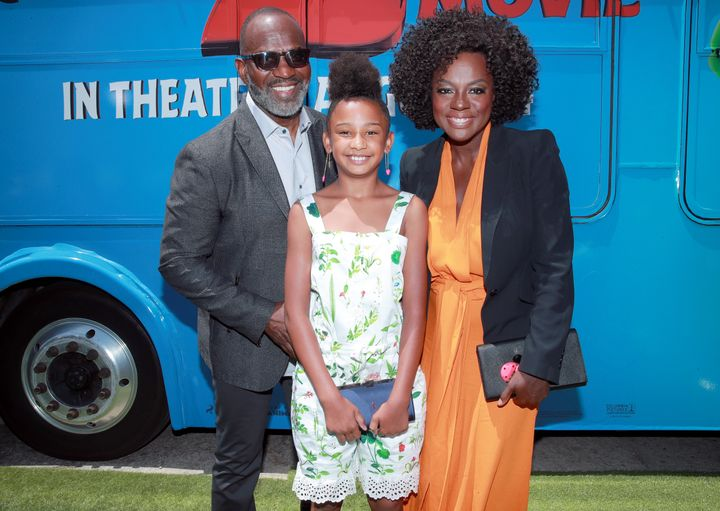 """Viola Davis with her husbandJulius Tennon and their daughter Genesis at the premiere of""""The Angry Birds Movie 2"""" on Aug. 10, 2019."""