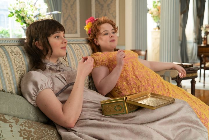 "Claudia Jessie as Eloise Bridgerton and Nicola Coughlan as Penelope Featherington in ""Bridgerton."""