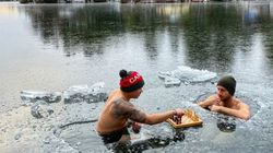 Just 2 Canadians Chilling Out In A Frozen Lake, Playing
