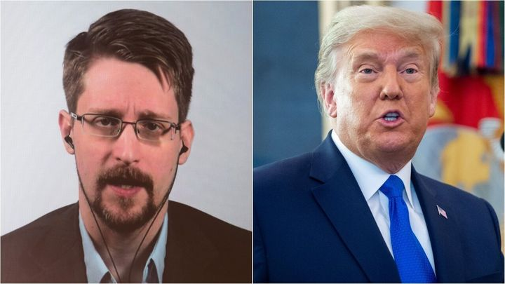 President Donald Trump has said he is considering pardoning Edward Snowden, left. Some liberal civil liberties groups are let