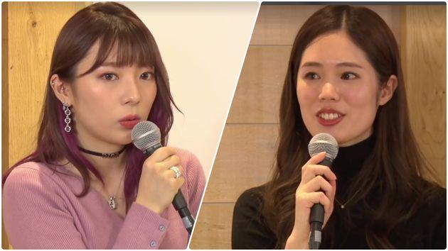 ライブに登場したarcaの辻愛沙子さんとルナルナ事業部副事業部長の那須理紗さん