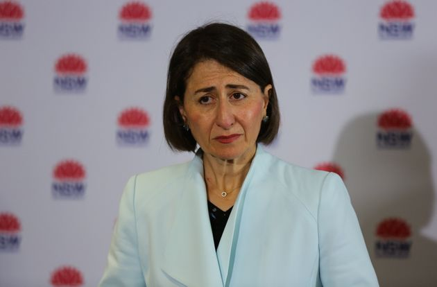 Premier of New South Wales Gladys Berejiklian looks on during a press conference to provide an update...