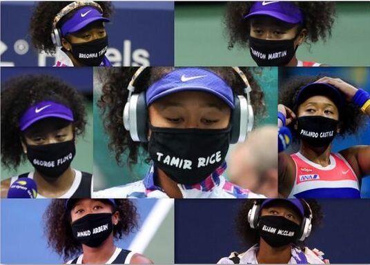 犠牲者の名前が書かれたマスクをつける大坂なおみ選手