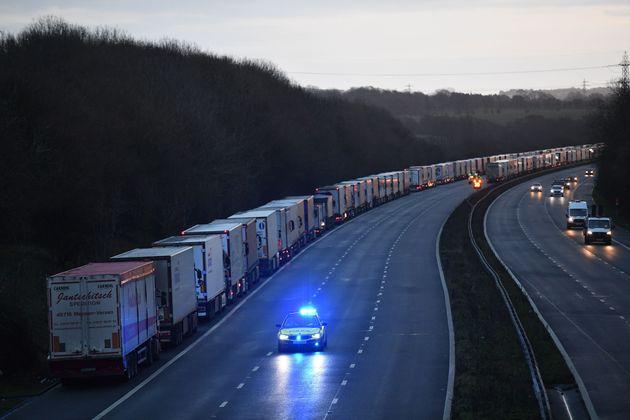 Camiones bloqueados cerca del Puerto de Dover, el 22 de diciembre de