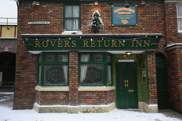 The famous Rovers Return is decorated for Christmas as the set of television soap Coronation Street is...