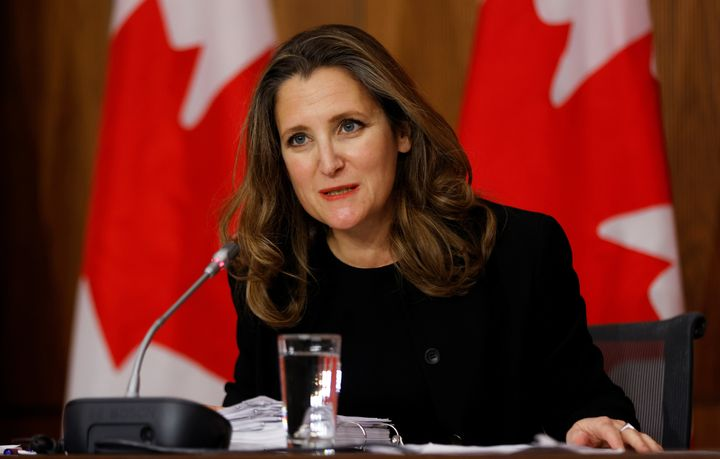 Deputy Prime Minister and Finance Minister Chrystia Freeland speaks to reporters at the unveiling of the Fall Economic Statement in Ottawa, Nov. 30, 2020.