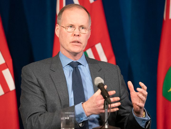 Dr. Adalsteinn Brown, dean of the University of Toronto's Public Health Department, answers questions during a news conference at Queen's Park in Toronto on April 20, 2020.