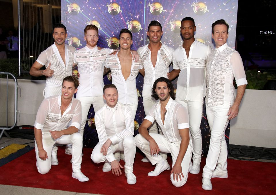 Kevin with the rest of the male Strictly professionals at last year's red carpet